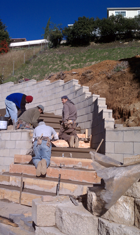Retaining Walls Construction Work Ridge Hillside